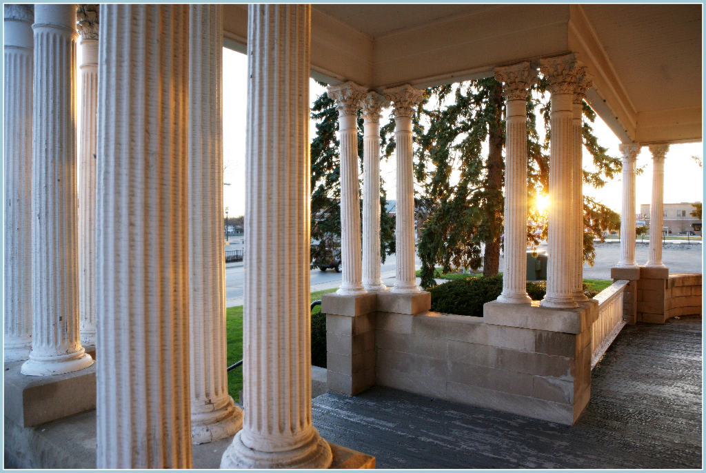 Sunrise on the front porch of Barrington's White House prior to renovation.