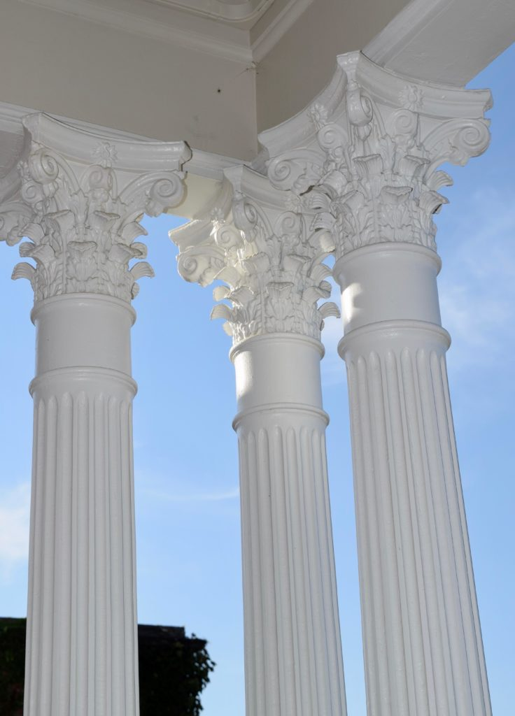 statuesque columns at Barrington's White House