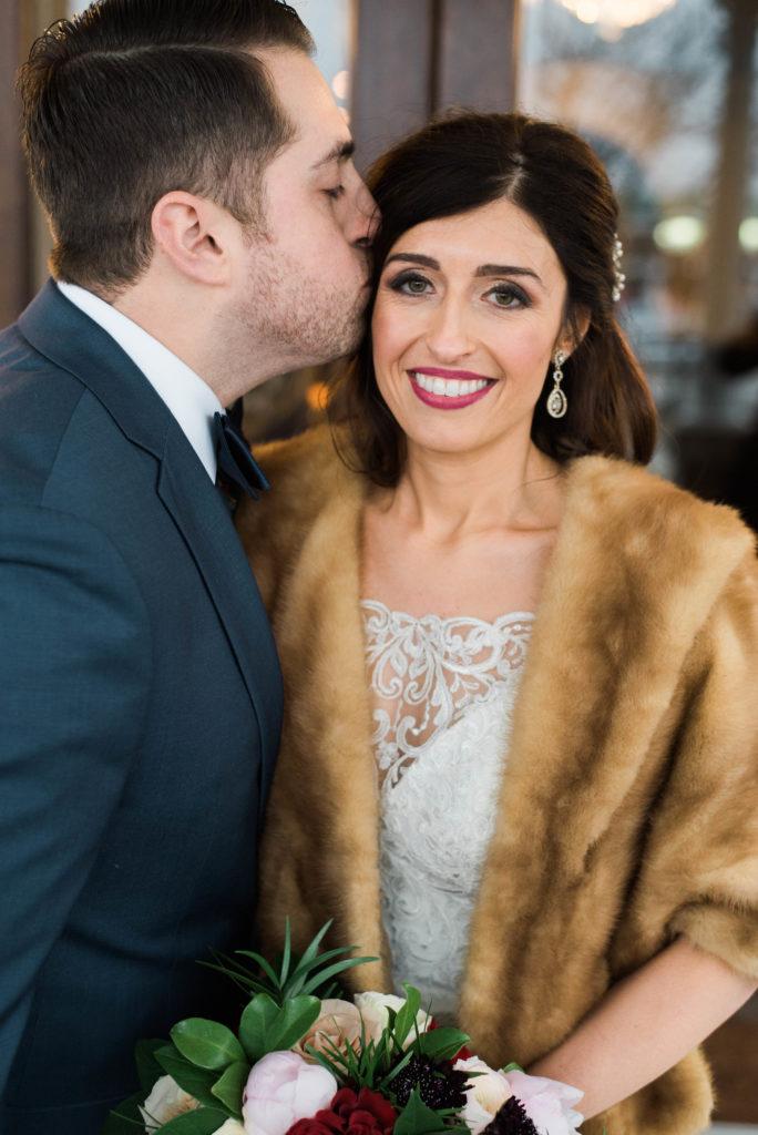 Couple at elegant wedding venue