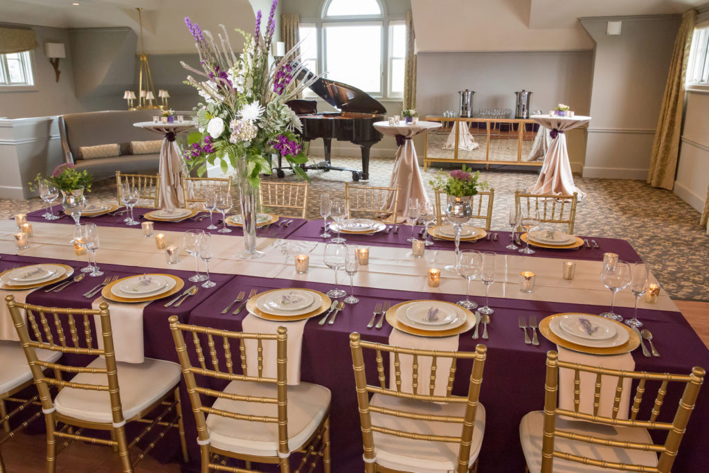 table setting at wedding at Barrington's White House